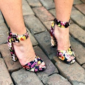 Floral chunky ankle strap wrap heels bamboo